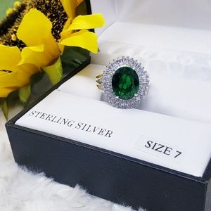 Jewelry - SterlingSilver Green CZ Fashion Cocktail Ring, NWT